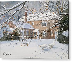 Farmhouse In The Snow Acrylic Print by Lucy Willis