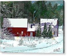 Farmhouse In Winter Acrylic Print