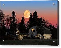 Acrylic Print featuring the photograph Farmhouse Moonrise by Larry Landolfi