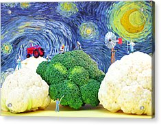 Farming On Broccoli And Cauliflower Under Starry Night Acrylic Print by Paul Ge
