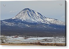 Farmland Under The Mountain Acrylic Print by Meandering Photography