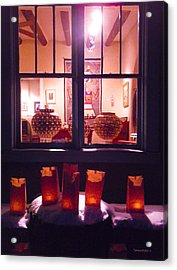 Farolitos Or Luminaria Below Window 4 Acrylic Print