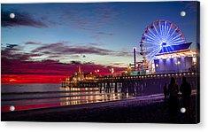 Ferris Wheel On The Santa Monica California Pier At Sunset Fine Art Photography Print Acrylic Print by Jerry Cowart