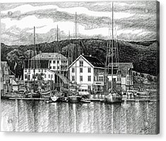 Farsund Dock Scene Pen And Ink Acrylic Print