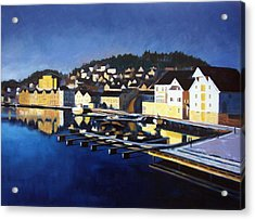 Farsund In Winter Acrylic Print by Janet King
