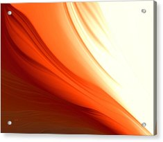 Acrylic Print featuring the digital art Glowing Orange Abstract by Gabriella Weninger - David
