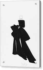 Fashion Art Black Bow Dress Illustration Acrylic Print by Alex Newton
