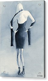 Fashion Illustration Art Print Woman In Blue Dress Back Acrylic Print by Beverly Brown