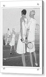 Fashion Illustration Of Women On A Tennis Court Acrylic Print