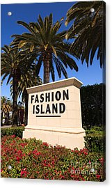 Fashion Island Sign In Orange County California Acrylic Print by Paul Velgos