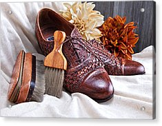 Fashionable Italian Shoes Still Life Acrylic Print by Tom Mc Nemar