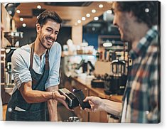 Fast And Easy Payment In The Coffee Shop Acrylic Print by Pixelfit