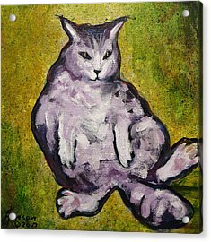 Acrylic Print featuring the mixed media Fat Cat by Kenny Henson