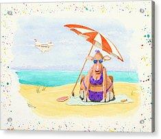 Fat Cow On A Beach 1 Acrylic Print