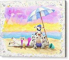 Fat Cows On A Beach 2 Acrylic Print