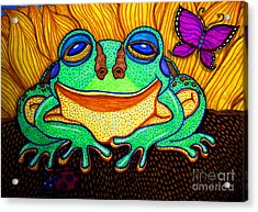 Fat Green Frog On A Sunflower Acrylic Print by Nick Gustafson