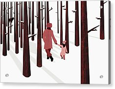 Father And Daughter Holding Hands Acrylic Print