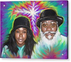 Acrylic Print featuring the painting Father And Daughter Spirit Ministry  by Hidden  Mountain