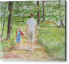 Father And Daughter Walk Acrylic Print