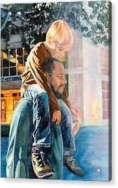 Father And Son In Morning Mist Acrylic Print by Maureen Dean