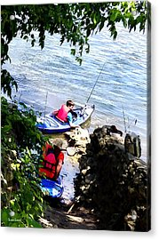 Father And Son Launching Kayaks Acrylic Print by Susan Savad