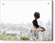 Father And Son On A Hill Acrylic Print by Kohei Hara