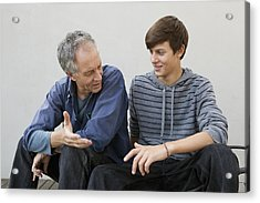 Father And Son Sitting Together Acrylic Print by Clarissa Leahy