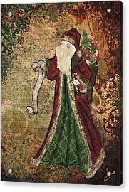 Father Christmas A Christmas Mixed Media Artwork Acrylic Print