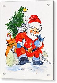 Father Christmas And Kittens, 1996  Acrylic Print by Diane Matthes