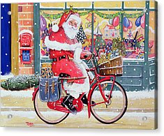 Father Christmas On A Bicycle Wc Acrylic Print by Tony Todd