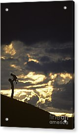 Father Holding Daughter Above His Head Along Hillside Silhouette Acrylic Print