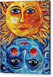 Father Sun And Mother Moon Acrylic Print by Sebastian Pierre