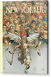 Father Time Running A Marathon Acrylic Print by Peter de Seve