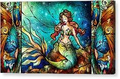The Serene Siren Triptych Acrylic Print