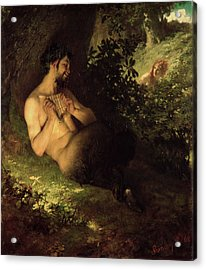 Faun And Nymph, 1868 Oil On Canvas Acrylic Print