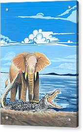 Acrylic Print featuring the painting Faune D'afrique Centrale 02 by Emmanuel Baliyanga