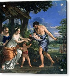 Faustulus Entrusting Romulus And Remus To His Wife Acca Larentia, C.1643 Oil On Canvas Acrylic Print