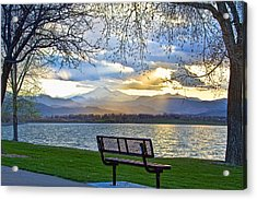 Favorite Bench And Lake View Acrylic Print by James BO  Insogna