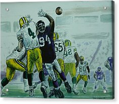 Acrylic Print featuring the painting Favre Vs The Vikes by Dan Wagner