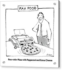 Fax Food 'four-color Pizza With Pepperoni Acrylic Print