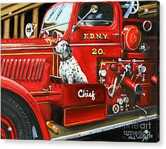 Fdny Chief Acrylic Print by Paul Walsh