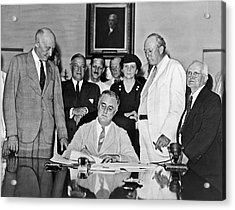 Fdr Signs Social Security Bill Acrylic Print by Underwood Archives