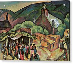 Feast Day San Juan Pueblo Acrylic Print by William Penhallow Henderson