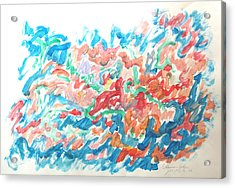 Acrylic Print featuring the painting Feast Of Blue And Red by Esther Newman-Cohen