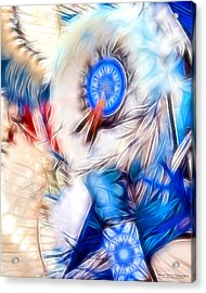 Feather Abstract In Blue Acrylic Print
