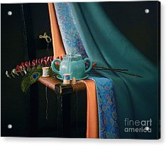 Feather And Threads Acrylic Print by Barbara Groff
