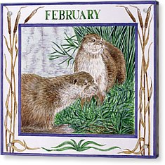 February Wc On Paper Acrylic Print by Catherine Bradbury