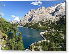 Acrylic Print featuring the photograph Fedaia Pass With Lake by Antonio Scarpi