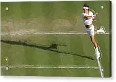 Federer Passing Shot Acrylic Print by Brian Menasco
