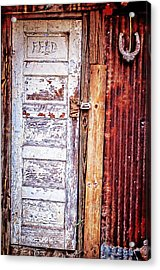 Feed Room Door Acrylic Print by Kelly Kitchens